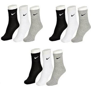 Nike Multicolour Cotton Ankle Length Socks - 9 Pairs