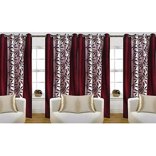 Avi Trendz kolaveri  marron window curtains set of 4(4x5)