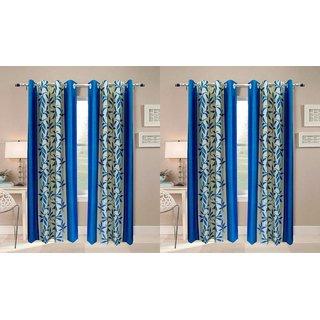 S Trendz kplaveri aqua window curtain set of 4(4x5) Ft
