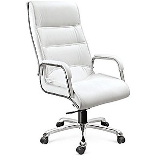 EARTHWOOD Leatherette Office Chair ( Color - White White)