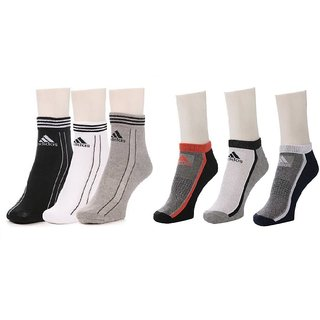 Adidas Multicolour Cotton Ankle Length Socks - 3-3 Pairs