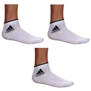 Adidas White Cotton Ankle Length Socks - 3 Pairs