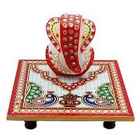 Ravishing Variety Marble Multicolor Chowki Ganesh