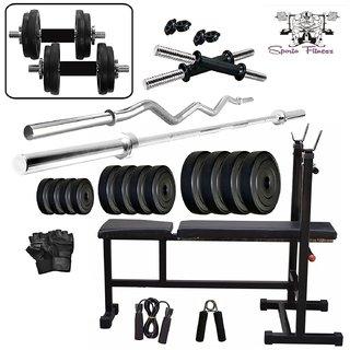 SPORTO FITNESS  40Kg PVC Combo 6 WB Home Gym
