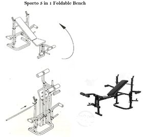 SPORTO FITNESS  5IN1 Blend Multi Purpose Foldable Bench (Black)