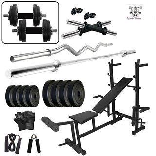 SPORTO FITNESS  40KG PVC COMBO 35 HOME GYM WITH 8 IN 1 MULTIPURPOSE BENCH