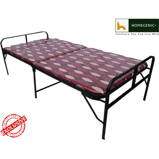 Homegenic Smart Single Folding Guest Bed with Foam Mattress Base Multi color Fabric (MAKE IN INDIA PROJECT)