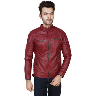 Casual Pu Leather Jackets For Boys  Men in Maroon colour
