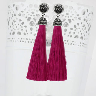 JewelMaze Marcasite Stone And Pink Thread Rhodium Plated Tassel Earrings-1310933O