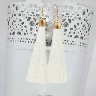JewelMaze White Thread Gold Plated Tassel Earrings-1310934A