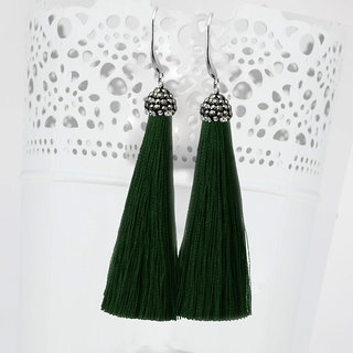 JewelMaze Rhodium Plated Marcasite Stone And Green Thread Tassel Earrings-1310932P