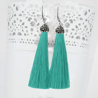 JewelMaze Rhodium Plated Marcasite Stone And Green Thread Tassel Earrings-1310932D