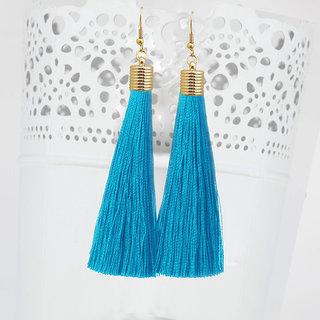 JewelMaze Blue Thread Gold Plated Tassel Earrings-1310934C