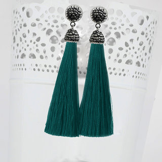 JewelMaze Marcasite Stone And Green Thread Rhodium Plated Tassel Earrings-1310933P