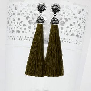 JewelMaze Marcasite Stone And Green Thread Rhodium Plated Tassel Earrings-1310933N