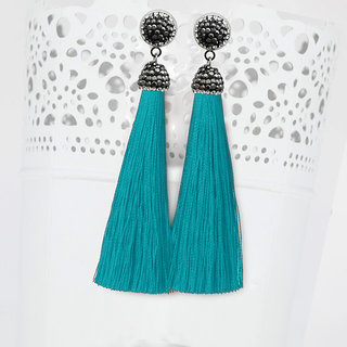 JewelMaze Marcasite Stone And Blue Thread Rhodium Plated Tassel Earrings-1310933M