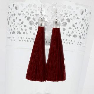 JewelMaze Maroon Thread Rhodium Plated Tassel Earrings-1310935F