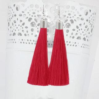 JewelMaze Red Thread Rhodium Plated Tassel Earrings-1310935D
