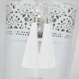 JewelMaze White Thread Rhodium Plated Tassel Earrings-1310935E