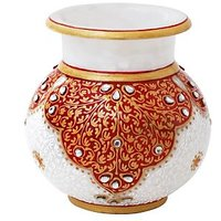 BEAUTIFUL MARBLE FLOWER POT WITH GOLD AND RED ENAMEL WORK-HPMR14031