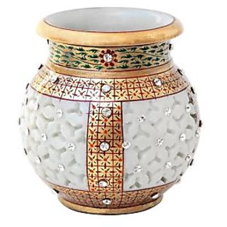 CUT WORK MARBLE FLOWER POT WITH GOLD AND KUNDAN WORK-HPMR14027