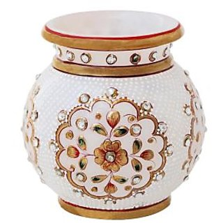 MARBLE FLOWER POT WITH GOLD AND KUNDAN WORK-HPMR14030