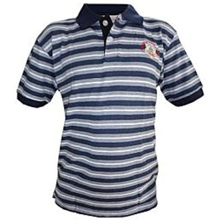 OurLook Men`s Striped Polo T-Shirt - Navy