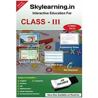 Skylearning in CBSE Class 3 Combo Pack (English, Maths, Science, EVS, Hindi  Vyakaran, Computer, G K) (Pendrive)
