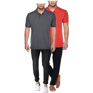 100 Cotton Polo T-Shirts For Men Combo Pack of 2