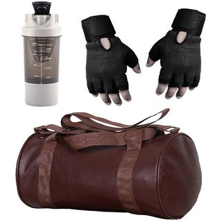 CP Bigbasket Combo Set Leather Soft Gym Bag (Brown), Cyclone Shaker (Grey), Netted Gym  Fitness Gloves (Black)