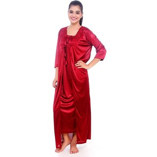 f81df1ea07 Sukuma Sassy Look 2 Pc Satin Nighty with Robe at Best Prices - Shopclues  Online Shopping Store