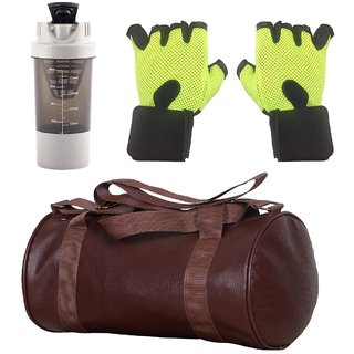 CP Bigbasket Combo Set Leather Soft Gym Bag (Brown), Cyclone Shaker (Grey), Netted Gym  Fitness Gloves (Green)