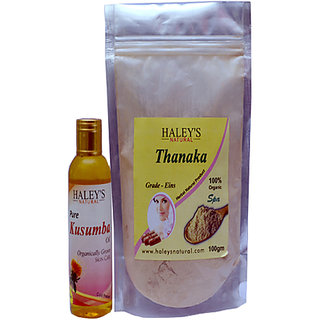 Thanaka Powder Grade EINS 100 Gm Kusumba oil 100 ml for Hair Removal Permanent