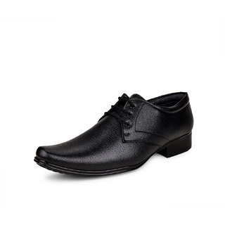 Essence Men's Black Formal Synthetic Lace-Up Shoes