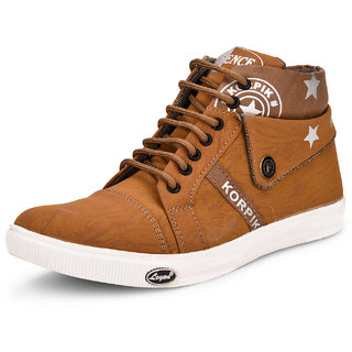 Essence Men's Tan Casual Synthetic Lace-Up Ankle Sneakers