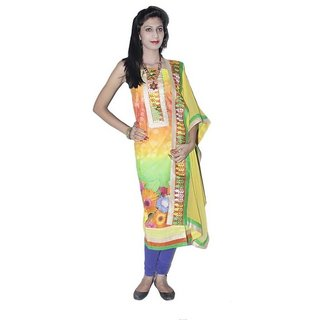 Beautiful Yellow Dress Material (Unstitched)