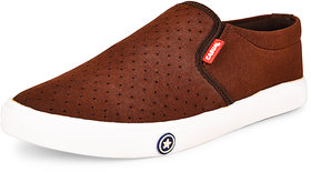 Essence Men's Brown Casual Synthetic Slip-On Sneakers