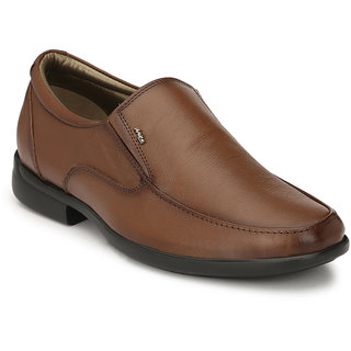 Hitz Mens Tan Original Leather Slip-On Formal Shoes
