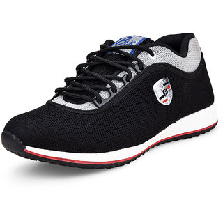 Essence Men's Black Casual Synthetic Lace-Up Sports Shoes
