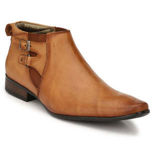 Hitz Mens Tan Original Leather High Ankle Semi-Formal Shoes