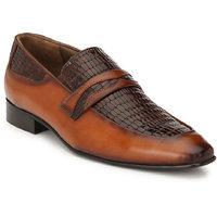 Hitz Men's Tan Original Leather Slip-On Semi-Formal Sho