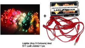 TAKSON Set of 5 Coloured Rice Lights (Assorted Colours) (5 mts)  5+1 Ladi Jointer LED / Rice Decorative Lights Jointer
