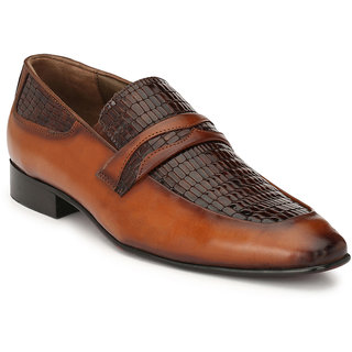 Hitz Mens Tan Original Leather Slip-On Semi-Formal Shoes