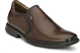 Hitz Men's Brown Original Leather Slip-On Formal Shoes