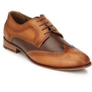 Hitz Mens Tan Original Leather Brogue Semi-Formal Shoes