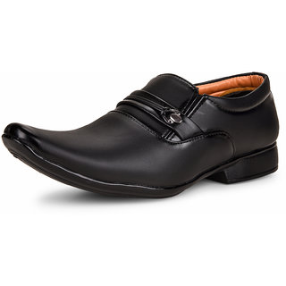 Essence Men's Black Formal Synthetic Slip-On Shoes