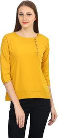 Funku Fashion Casual 3/4th Sleeve Solid Women's Yellow Top