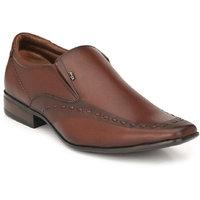 Hitz Men's Brown Original Leather Slip-On Formal Shoes