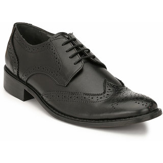 Hitz Mens Black Original Leather Brogue Formal Shoes