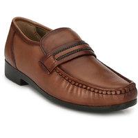 Hitz Men's Brown Original Leather Slip-On Semi-Formal L